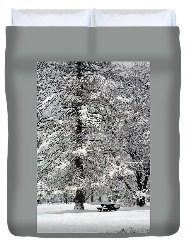 Washington Park Duvet Cover featuring the photograph Winter 0001 by Carol Ann Thomas