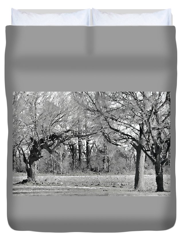Nature Duvet Cover featuring the photograph Winter At The Edge Of The Woods by Debbie Portwood