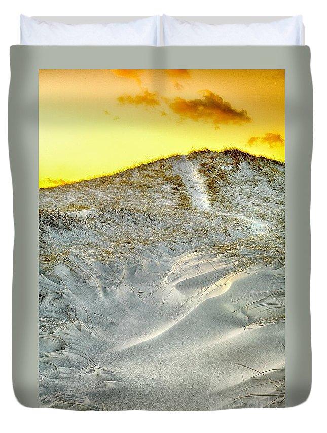 Winter Duvet Cover featuring the photograph Winter Cape Cod Sunset by Matt Suess