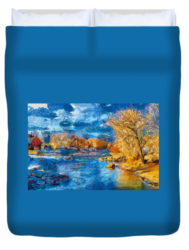 Santa Duvet Cover featuring the digital art Winter In Salida -- Renoir by Charles Muhle