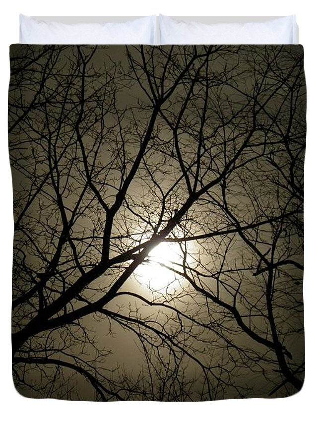 Moon Duvet Cover featuring the photograph Winter Moon On A Cold Foggy Winter Night by Sven Migot