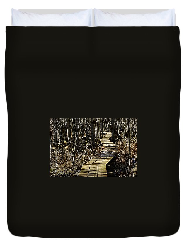 North America Duvet Cover featuring the photograph Winter On Miller Pond Board Walk by LeeAnn McLaneGoetz McLaneGoetzStudioLLCcom