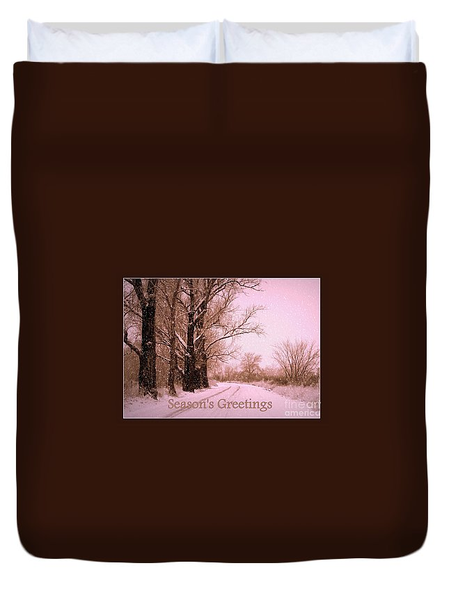 Season's Greetings Card Duvet Cover featuring the photograph Winter Pink Season's Greetings by Carol Groenen