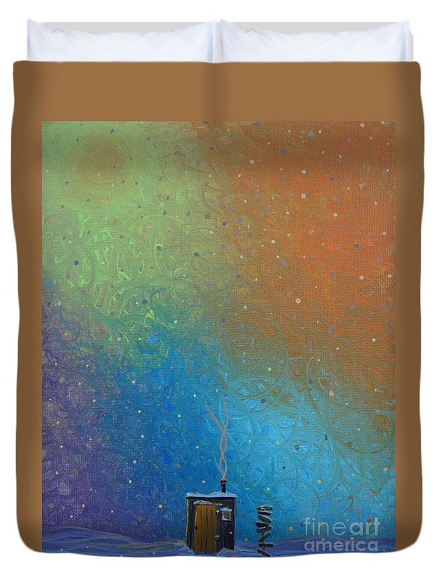 Winter Solitude 10 Duvet Cover featuring the painting Winter Solitude 10 by Jacqueline Athmann