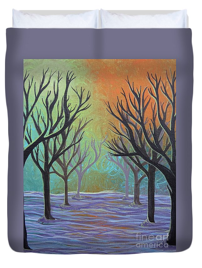 Winter Solitude 3 Duvet Cover featuring the painting Winter Solitude 11 by Jacqueline Athmann