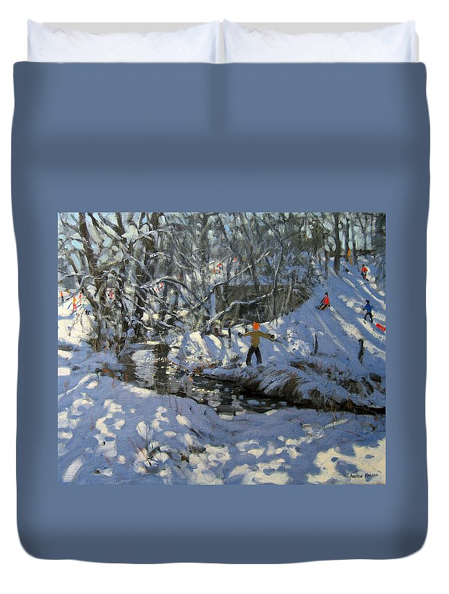 Snow Duvet Cover featuring the painting Winter Stream by Andrew Macara
