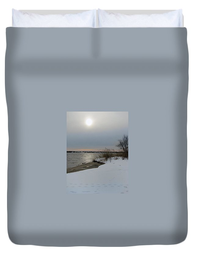 Winter Duvet Cover featuring the painting Winter Sun by Clara Sue Beym