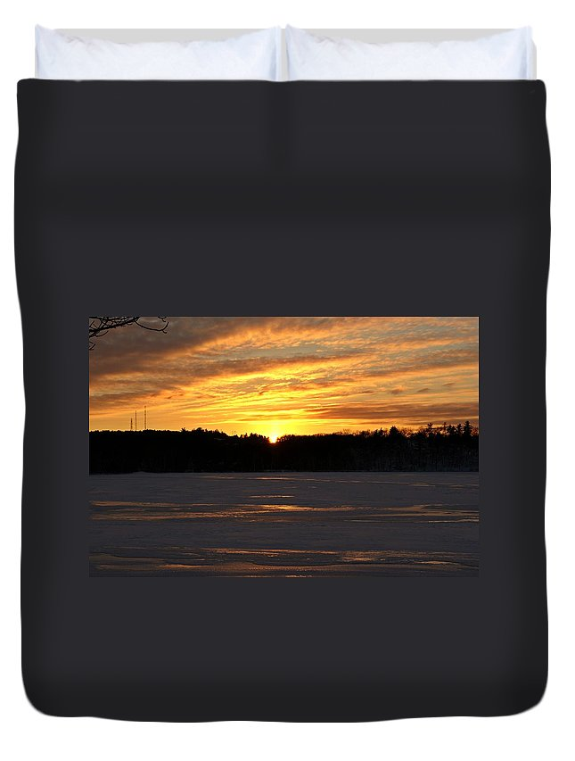 Winter Duvet Cover featuring the photograph Winter Sunset II by Joe Faherty