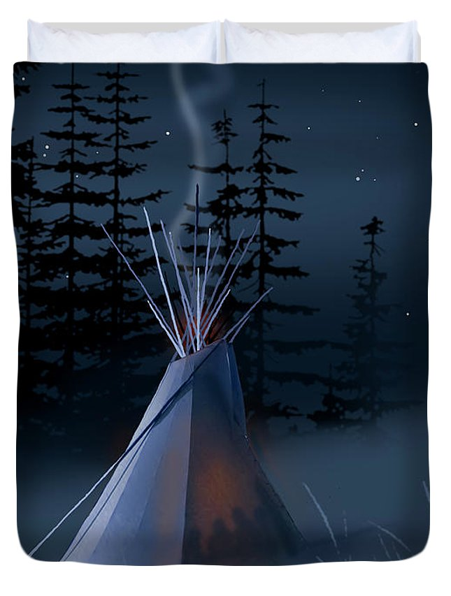 Native Americans Duvet Cover featuring the painting Winter Teepee by Paul Sachtleben
