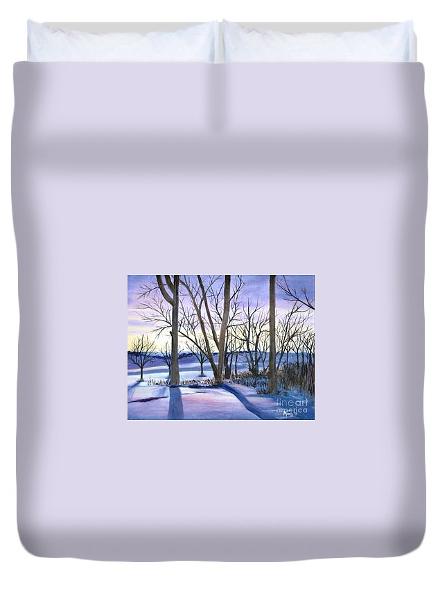 Landscape Duvet Cover featuring the painting Winter's Eve by Mendy Pedersen