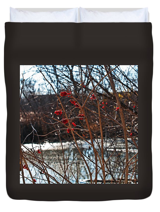 Heron Haven Duvet Cover featuring the photograph Winters Food Store by Edward Peterson
