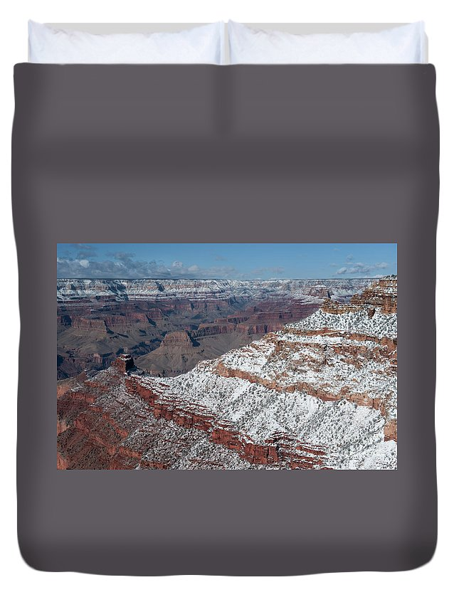 Grand Canyon Duvet Cover featuring the photograph Winter's Touch At The Grand Canyon by Sandra Bronstein