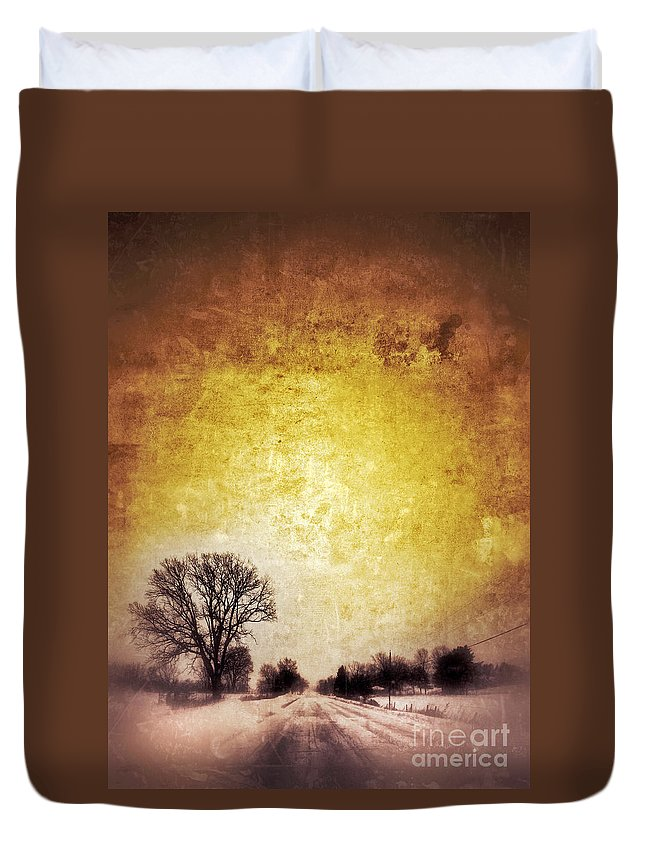Tree Duvet Cover featuring the photograph Wintery Road Sunrise by Jill Battaglia