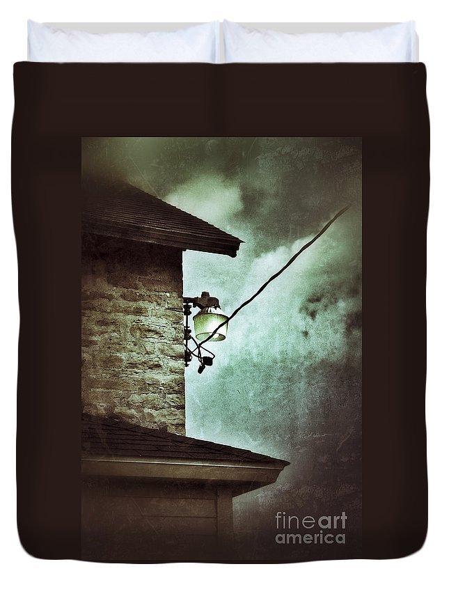 House Duvet Cover featuring the photograph Wires On House In Storm by Jill Battaglia