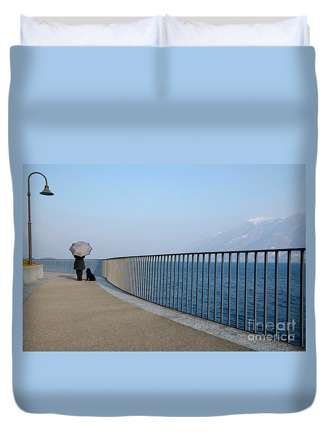 Woman Duvet Cover featuring the photograph Woman And Her Dog On The Path by Mats Silvan