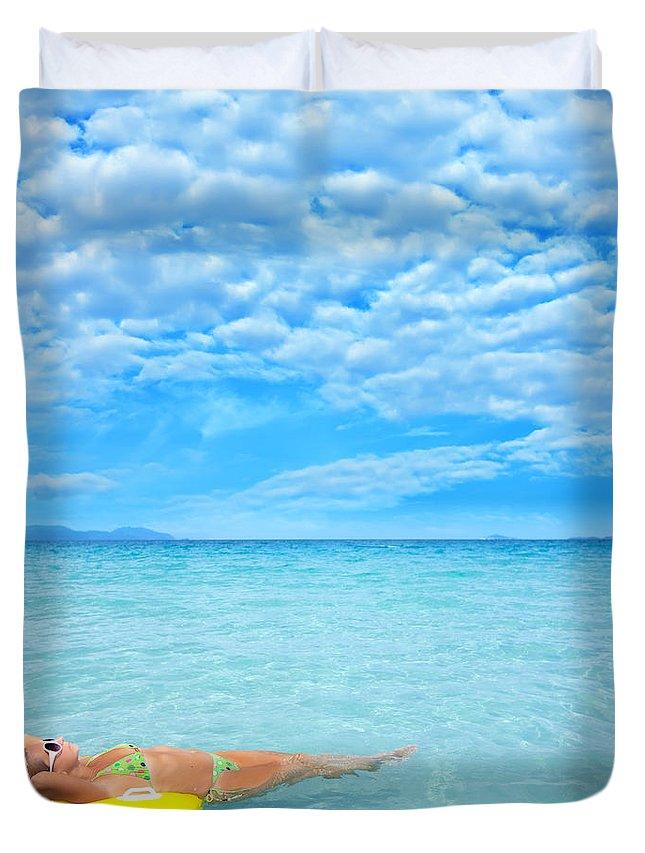Lagoon Duvet Cover featuring the photograph Woman And Ocean by MotHaiBaPhoto Prints