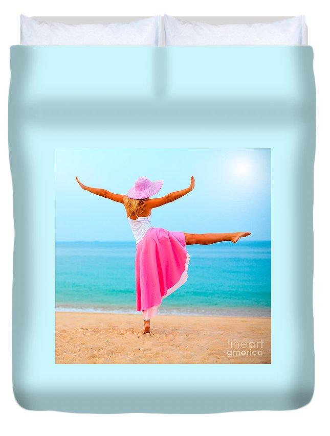 Women Duvet Cover featuring the photograph Woman Dancing by MotHaiBaPhoto Prints