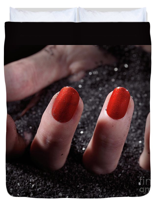 Manicure Duvet Cover featuring the photograph Woman Hand With Red Nail Polish Buried In Black Sand by Oleksiy Maksymenko