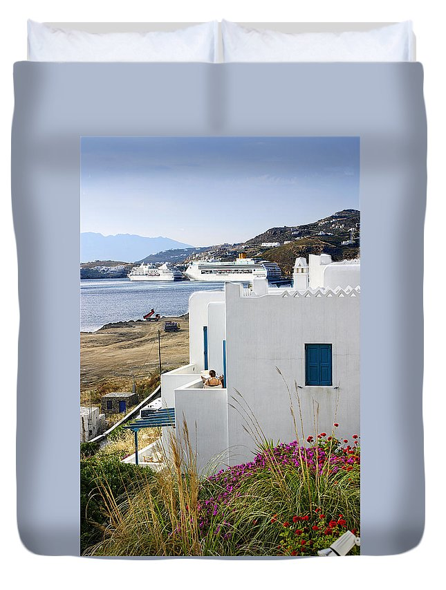 Mykonos Duvet Cover featuring the photograph Woman On The Terrace - Mykonos by Madeline Ellis