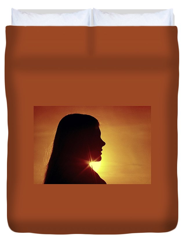 Silhouette Duvet Cover featuring the photograph Woman Silhouette by Sally Weigand