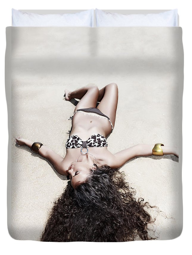 Girl Duvet Cover featuring the photograph Woman Sunbathing by MotHaiBaPhoto Prints