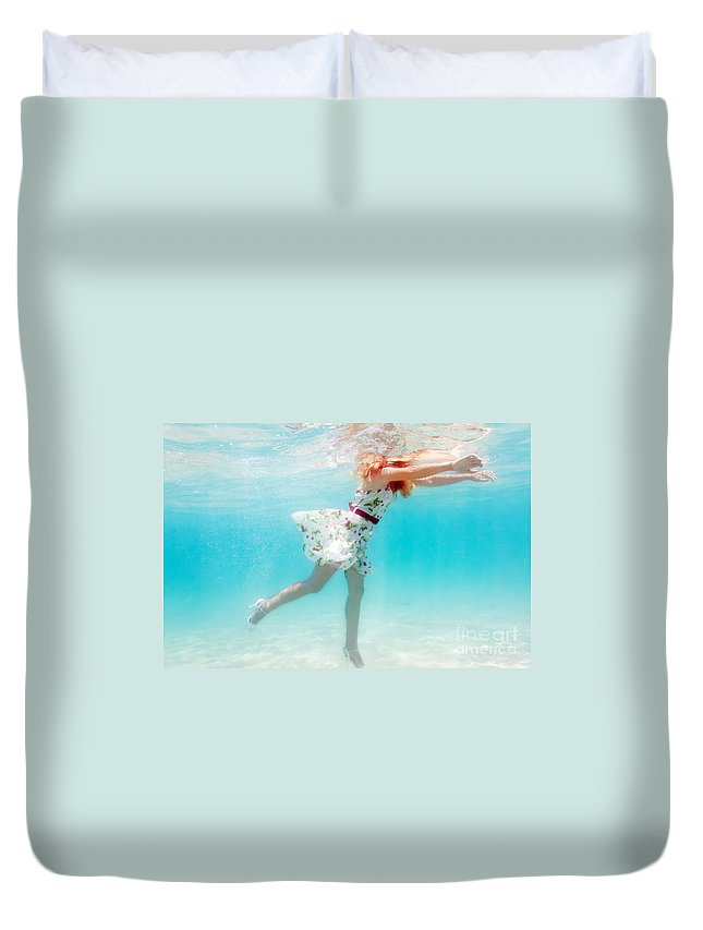 Woman Duvet Cover featuring the photograph Woman Underwater by MotHaiBaPhoto Prints