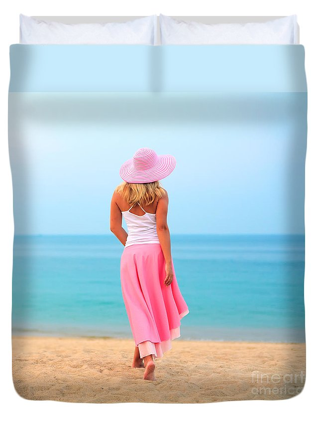 Women Duvet Cover featuring the photograph Woman Walking by MotHaiBaPhoto Prints