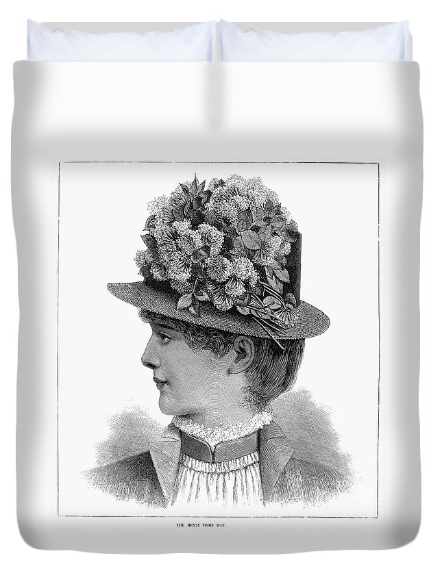 1883 Duvet Cover featuring the photograph Womans Hat, 1883 by Granger