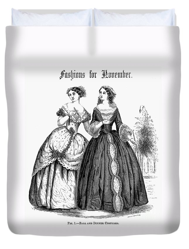 1851 Duvet Cover featuring the photograph Womens Fashion, 1851 by Granger