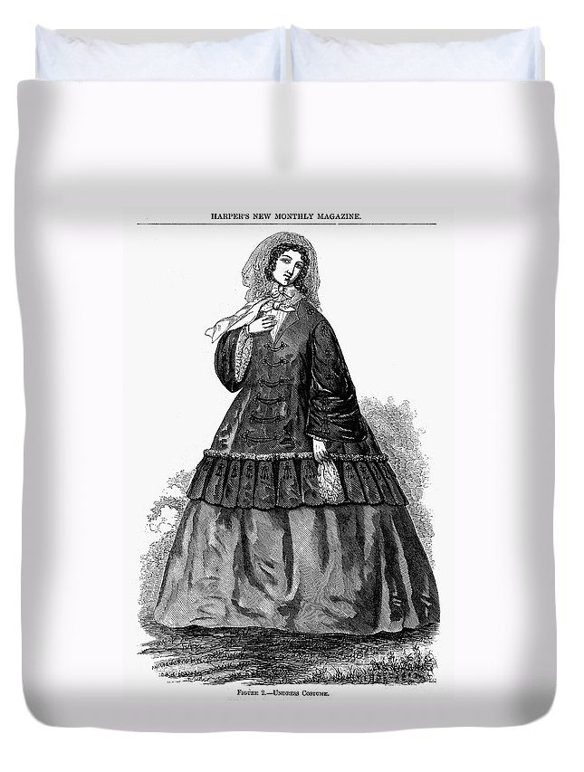 1850s Duvet Cover featuring the photograph Womens Fashion, C1850s by Granger