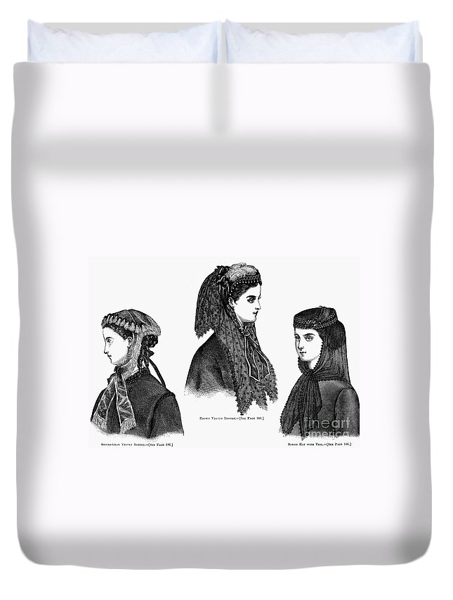 1868 Duvet Cover featuring the photograph Womens Hats, 1868 by Granger