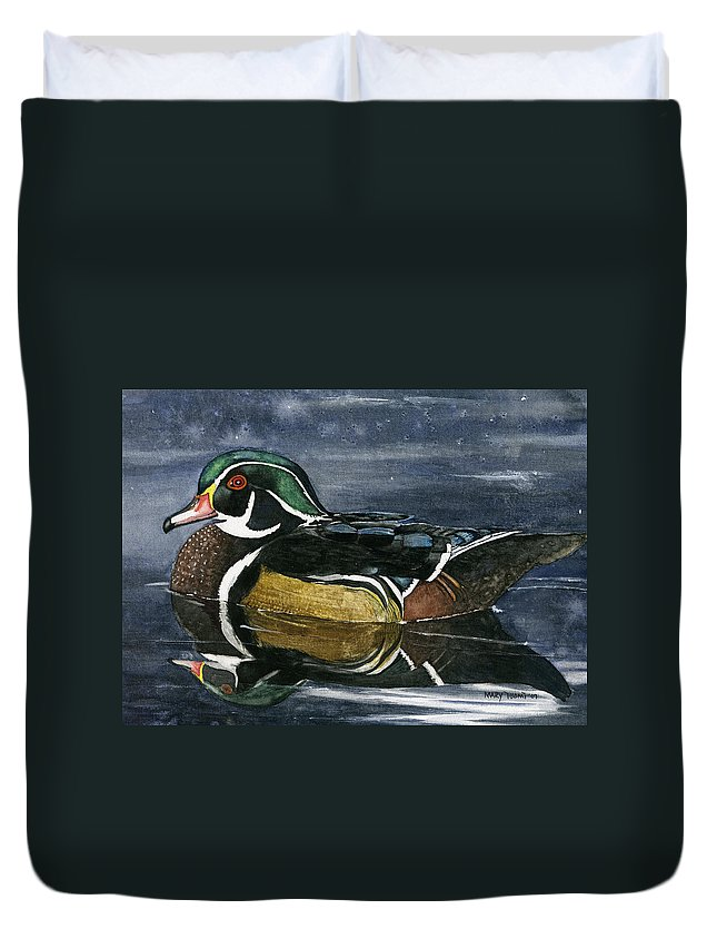 Wood Duvet Cover featuring the painting Wood Duck by Mary Tuomi