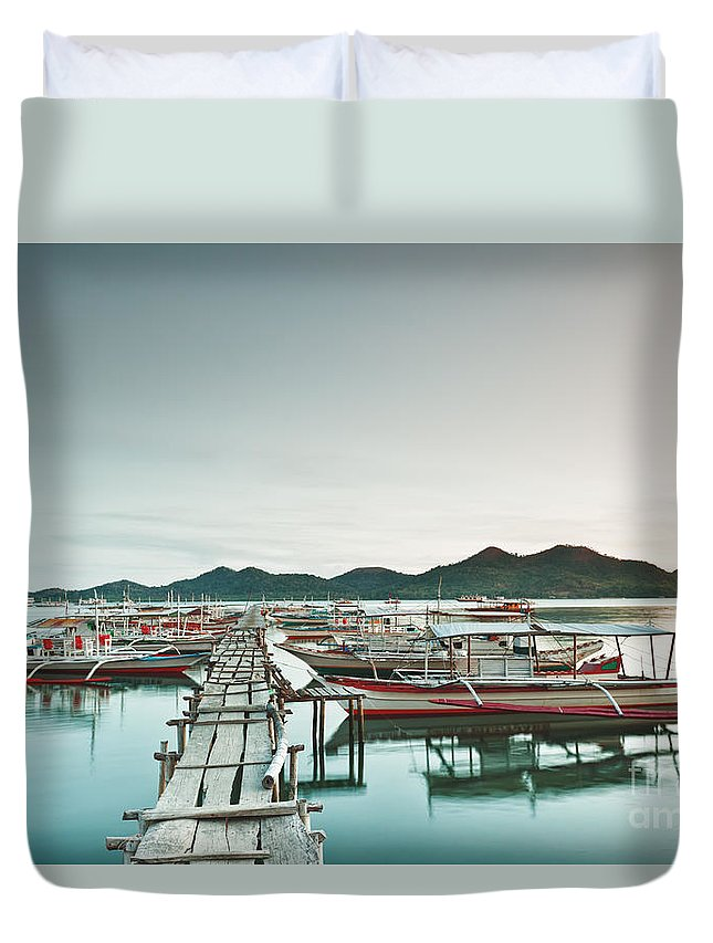 Bangka Duvet Cover featuring the photograph Wooden pier by MotHaiBaPhoto Prints