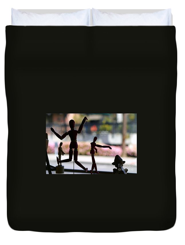 Man Duvet Cover featuring the photograph Wooden Puppet by Henrik Lehnerer