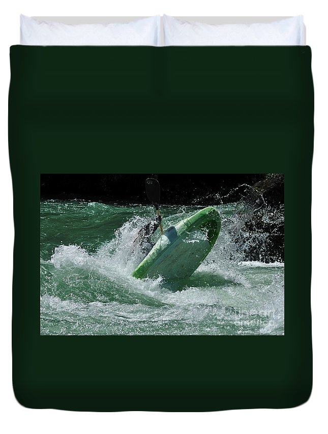 Kayaking Duvet Cover featuring the photograph Working The Rapids by Vivian Christopher