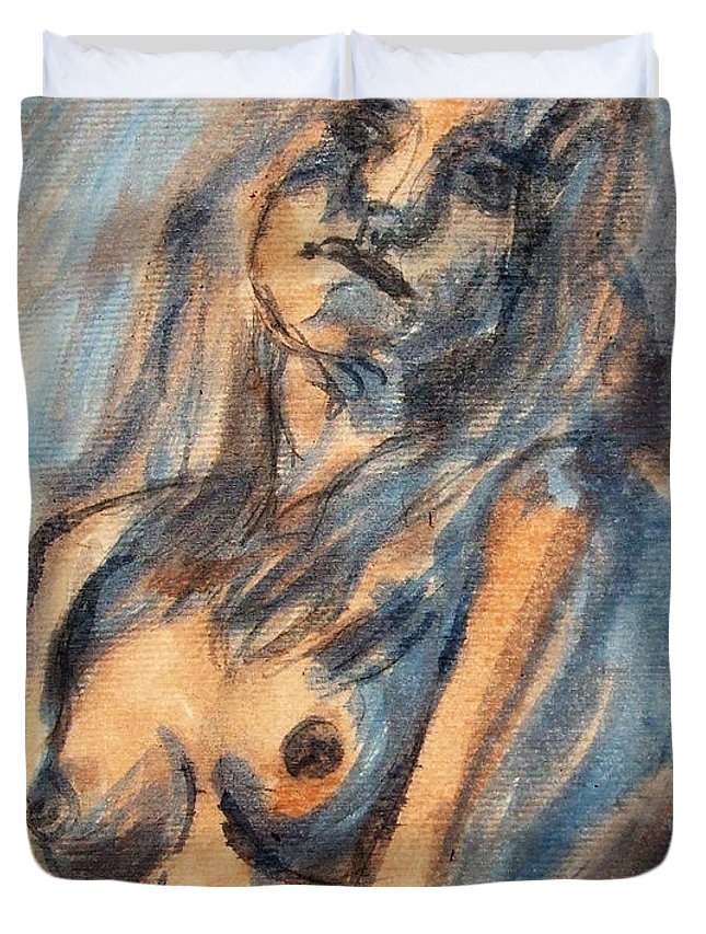 Nude Duvet Cover featuring the painting Worried Young Nude Female Teen Leaning And Filled With Angst In Orange And Blue Watercolor Acrylics by M Zimmerman