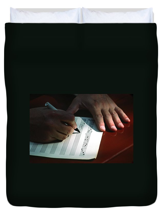 Hands Writing Musical Notes Duvet Cover featuring the photograph Writing Music by Sally Weigand