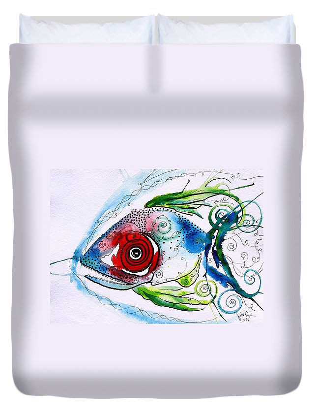 Paintings Duvet Cover featuring the painting Wtfish 001 by J Vincent Scarpace
