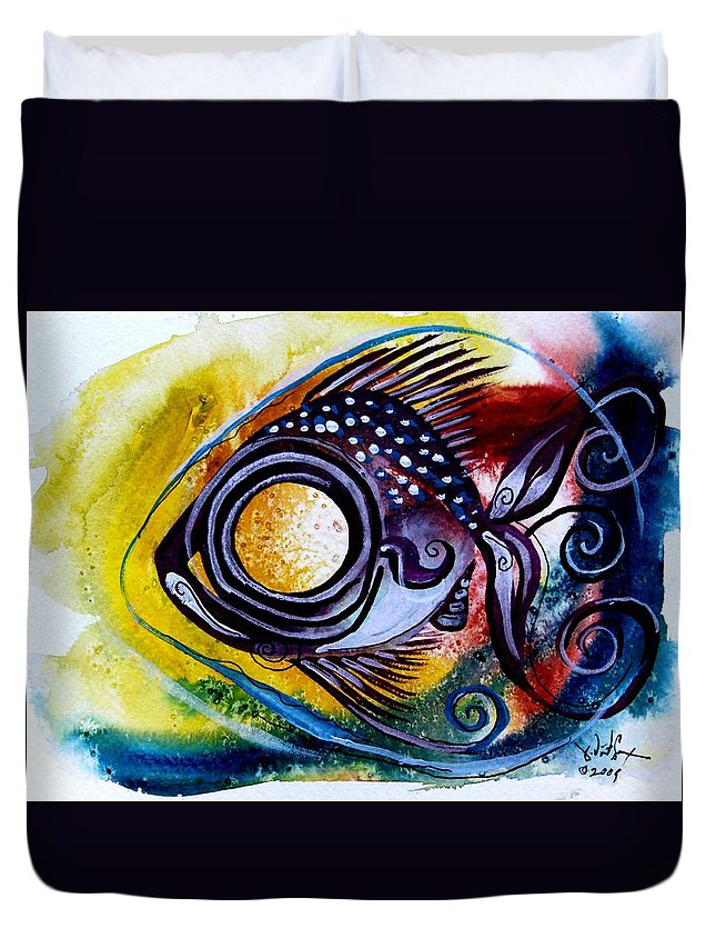Fish Duvet Cover featuring the painting Wtfish 3816 by J Vincent Scarpace