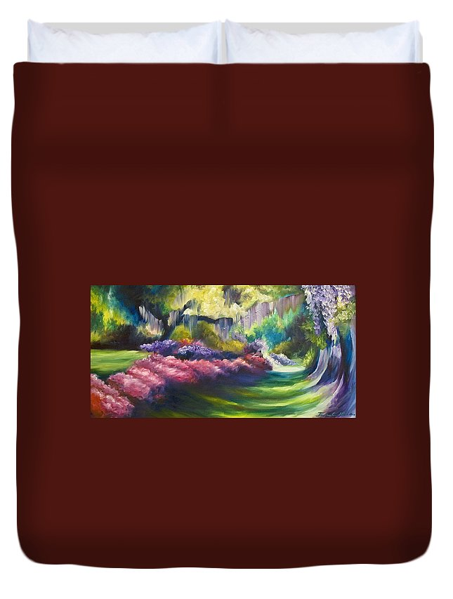Nature; Lake; Sunset; Sunrise; Serene; Forest; Trees; Water; Ripples; Clearing; Lagoon; James Christopher Hill; Jameshillgallery.com; Foliage; Sky; Realism; Oils; Flowers; Red; Blue; Green; Purple; Wisteria; Oaks; Tree; Azaleas; Path Duvet Cover featuring the painting Wysteria Lane by James Christopher Hill