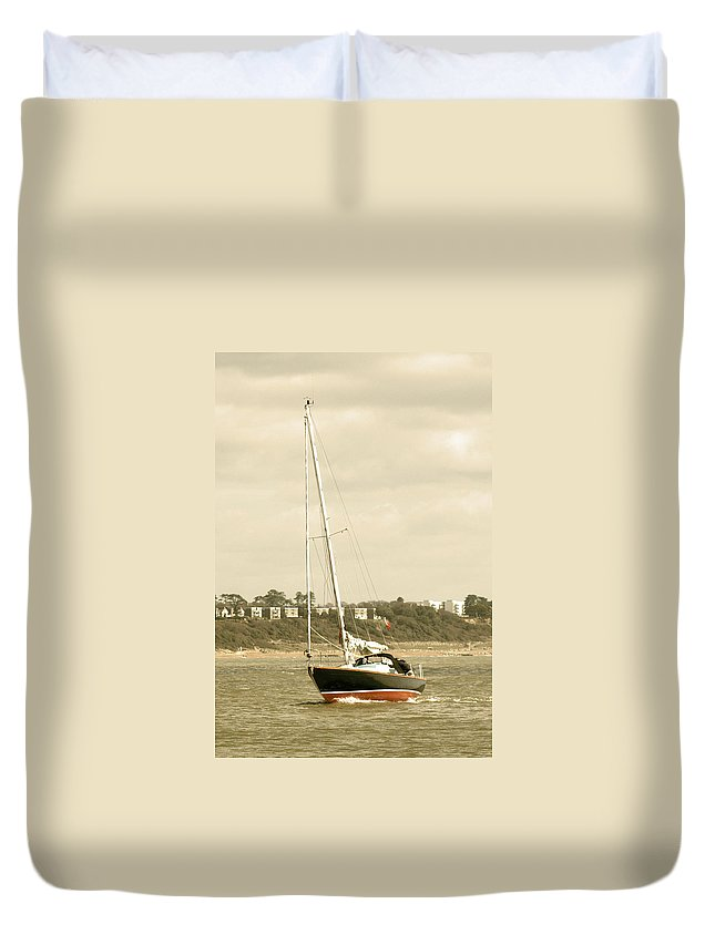 Yacht Duvet Cover featuring the photograph Yacht Entering Christchurch Harbour by Chris Day