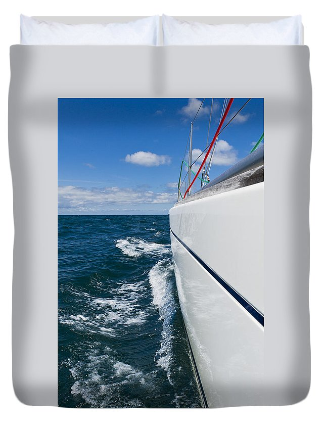 Blue Duvet Cover featuring the photograph Yacht Lines by Gary Eason