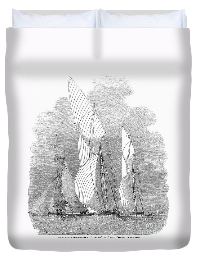 1855 Duvet Cover featuring the photograph Yacht Race, 1855 by Granger