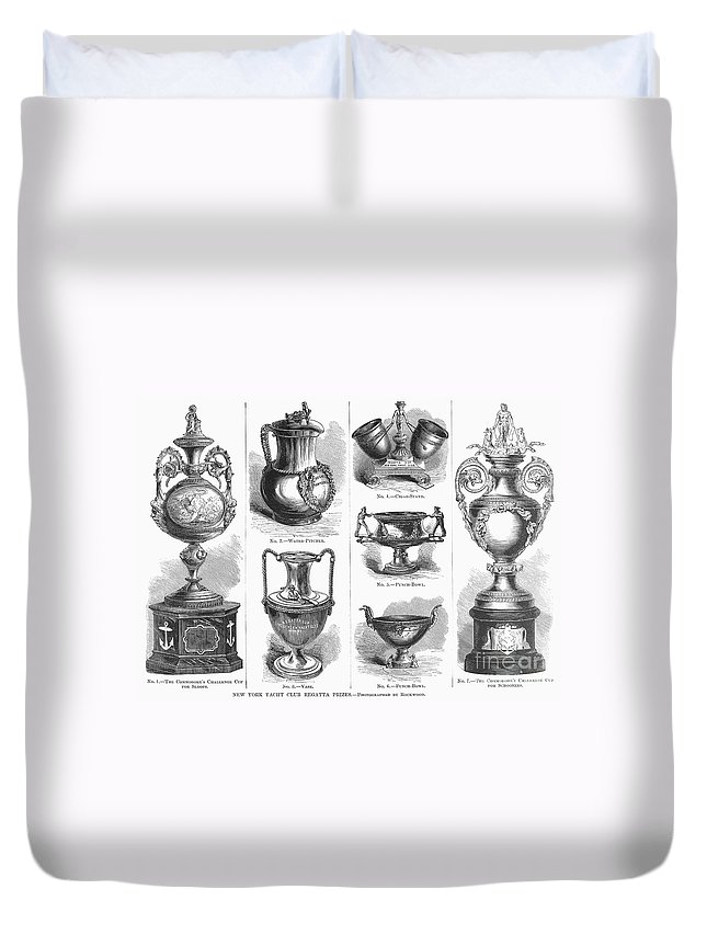 1871 Duvet Cover featuring the photograph Yachting Trophies, 1871 by Granger