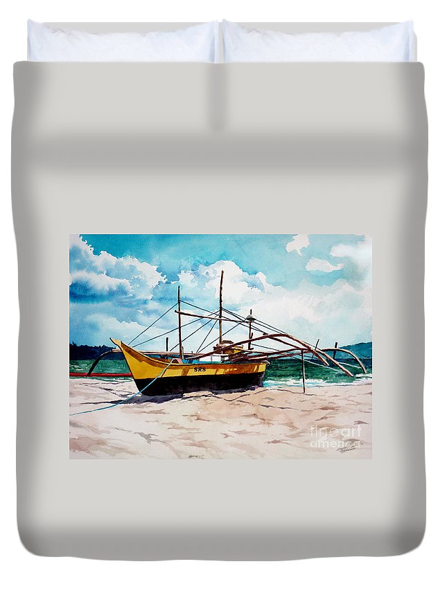 Boat Duvet Cover featuring the painting Yellow Boat Docking On The Shore by Christopher Shellhammer