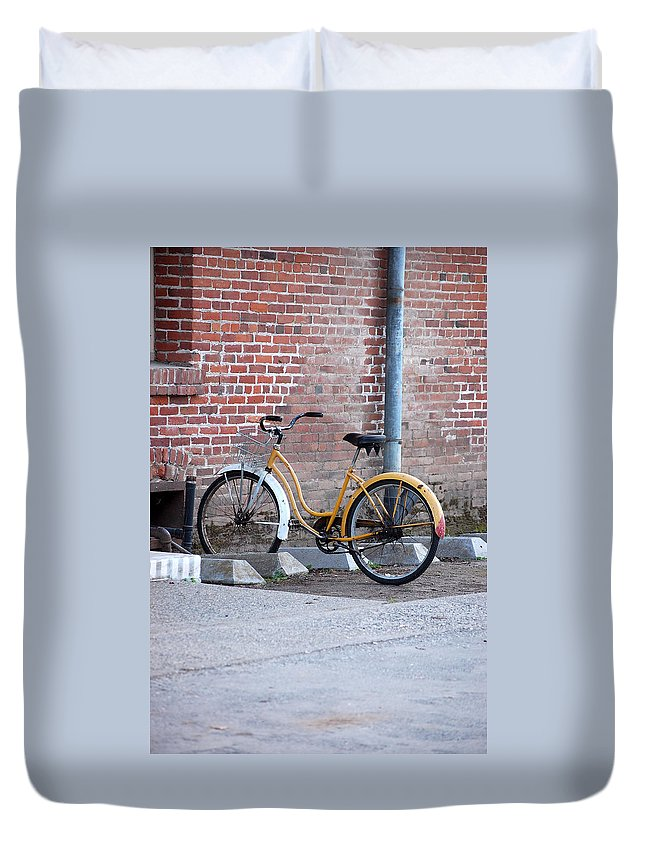 Monk Bicycle Yellow Cruiser Monastery Vina Ca Duvet Cover featuring the photograph Yellow Cruiser by Holly Blunkall