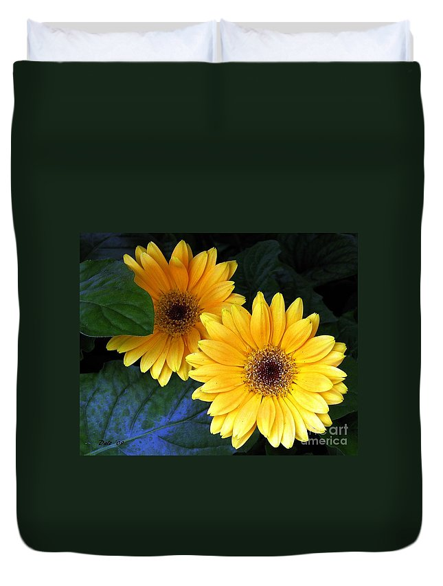 Flowers Duvet Cover featuring the digital art Yellow Dahlias by Dale  Ford