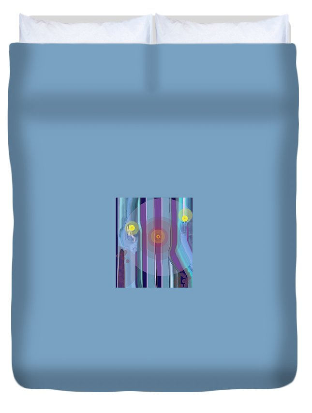 Abstract Duvet Cover featuring the digital art Yellow Eyes by Ian MacDonald