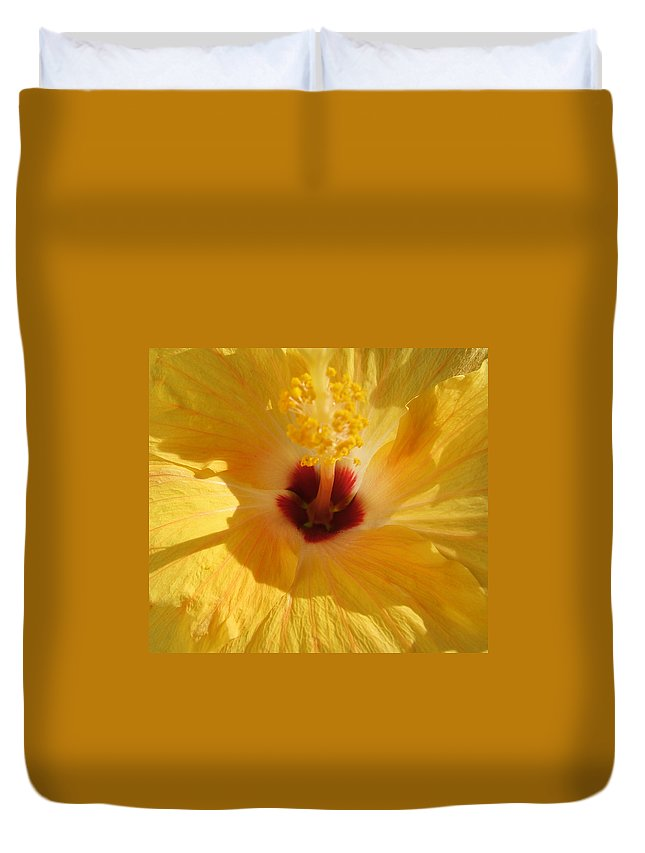 Flower Duvet Cover featuring the photograph Yellow Flower by Melissa Gallant