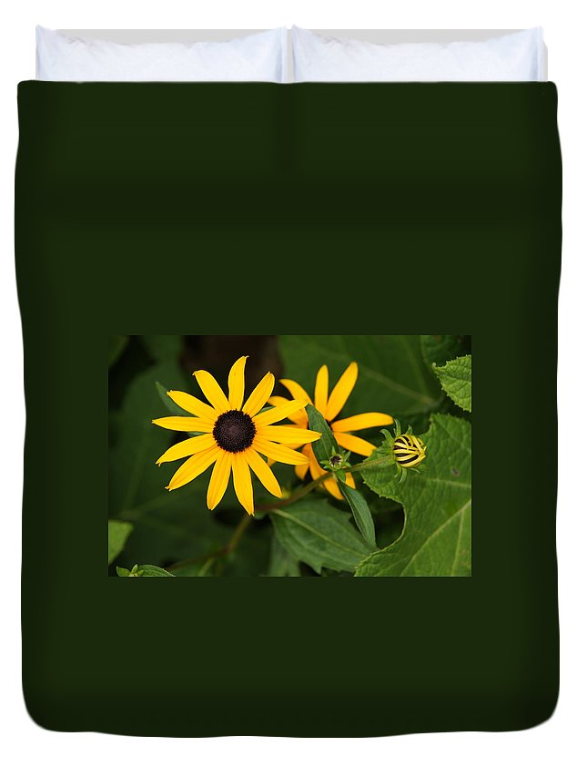 Flowers Duvet Cover featuring the photograph Yellow Flowers by Megan Cohen